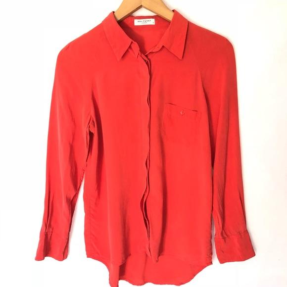 658196cc9bc0a Equipment Tops - Equipment Femme Coral Button Down Silk Blouse S